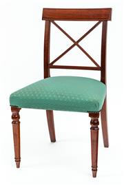 Sale 9015J - Lot 162 - An antique English mahogany Georgian Regency single chair C: 1810. The reeded tablet back on X reed to reeded bottom rail and upri...