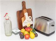 Sale 9070H - Lot 59 - A group of kitchen ware including a toaster, soda syphon, chopping boards and coasters