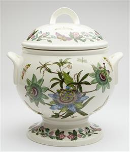 Sale 9123J - Lot 317 - A large English Port Merion pottery lidded soup tureen, profusely decorated with flowers and butterflies, Ht: 32cm x W: 28cm