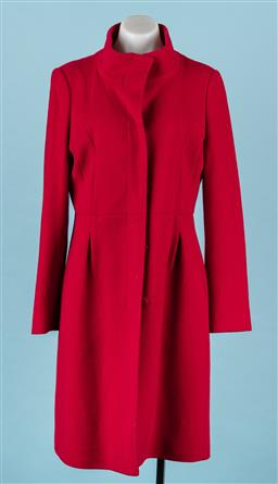 Sale 9092F - Lot 69 - A HOBBS LONDON RED FUNNEL-NECK COAT. Lined, Size 12.
