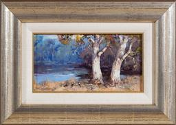 Sale 9155H - Lot 43 - Patrick Murphy  Magpies in the morning, oil on Board 12x22cm signed lower left.