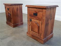 Sale 9174 - Lot 1329 - Pair of timber bedsides (h80 x w60 xd45cm)