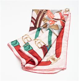 Sale 9253J - Lot 400 - A BALLY BELT PATTERN SILK SCARF; multicolour belts on white ground to pink rolled edges, size 85 x 85cm.