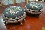 Sale 8500 - Lot 1034 - Pair of Victorian Carved & Walnut Footstools with Glass Bead Work