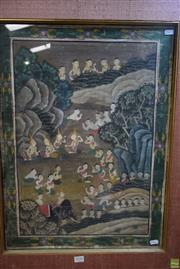 Sale 8578T - Lot 2028 - Artist Unknown (Thai School) Ceremony in the Gardens gouache on cotton, 80 x 65cm (frame) unsigned