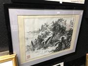 Sale 8674 - Lot 2075 - Chinese School Mountain Landscape ink,  (frame) inscribed and stamp seal