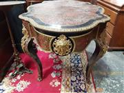 Sale 8774 - Lot 1025 - Louis XIV Style Boulle Bureau Plat, the shaped top with brass inlays on a red ground, drawer below & cabriole legs with caryatids...