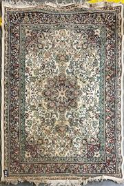 Sale 8889 - Lot 1041 - Cream and Green Tone Floor Rug (220 x 154cm)
