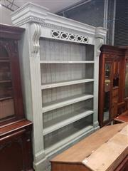 Sale 9031 - Lot 1010 - Large Victorian Style Blue Painted Pine Bookshelf, with dentil moulding & pierced guilloche frieze, with five shelves, on plinth bas...