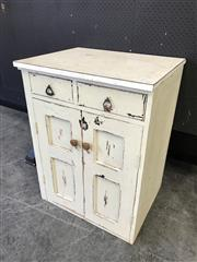 Sale 9043 - Lot 1013 - Rustic Shabby Chic Two Drawer and Door Cabinet (H:85 W:64 D:51cm)