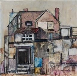 Sale 9109A - Lot 5067 - Joy Lieber Ancestral House mixed media on canvas 61 x 61 cm signed lower right