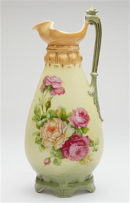 Sale 9123J - Lot 318 - An antique fine porcelain tall ewer decorated with roses Ht: 27.5cm