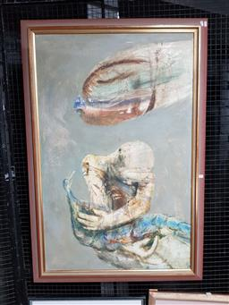 Sale 9127 - Lot 2044 - Royce Sutcliffe Figure with Peacock, oil on board, frame: 134 x 91 cm, signed lower right -