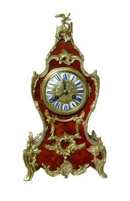 Sale 9150J - Lot 59 - A fine antique French Ormolu Bronze with faux Tortoiseshell clock by Vincenti c.1860 with key and pendulum. Overall size 35 cm
