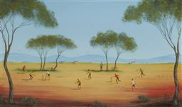 Sale 9170 - Lot 511 - KYM HART ( 1965 - ) Saturday Morning Cricket oil on board 29 x 49 cm (frame: 45 x 65 x 2 cm) signed lower right