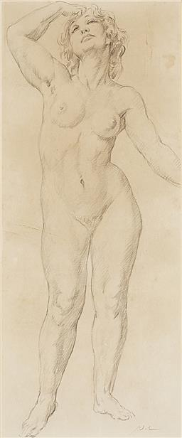 Sale 9195 - Lot 538 - NORMAN LINDSAY (1879 - 1969) Joy pencil on paper 41 x 17 cm (frame: 70 x 43 x 4 cm) intialled lower right. Bloomfield Galleries labe...