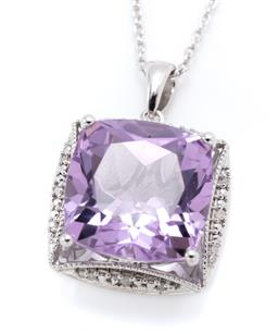 Sale 9253J - Lot 476 - A SILVER AMETHYST AND DIAMOND PENDANT NECKLACE; centring an approx. 10.78ct cushion cut amethyst to surround of 16 single cut diamon...