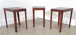 Sale 9240 - Lot 1015 - Set of 3 vintage lamp tables with tooled leather tops by Thomas OBrian (h61 x w45 x d55cm)