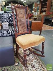 Sale 8428 - Lot 1009 - Victorian Walnut Rocking Chair, with cane back & velvet seat