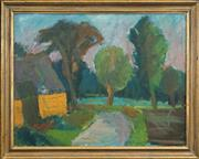 Sale 8459 - Lot 586 - Gustav Rudberg (1915 - 2001) - Countryscape with Barn, 1949 74.5 x 96.5cm