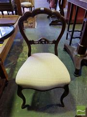 Sale 8539 - Lot 1091 - Victorian Carved Walnut Balloon Back Chair, in latte gingham fabric & on cabriole legs