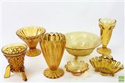 Sale 8626 - Lot 37 - Vases And Bowls In Amber Glass