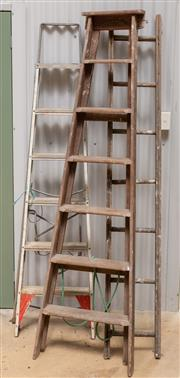 Sale 8677A - Lot 99 - A set of three ladders, including two timber and one aluminium