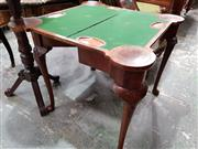 Sale 8728 - Lot 1080A - Early Georgian Style Walnut Card Table, with turreted corners, opening with concertina action to reveal a green baize interior and c...