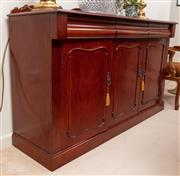 Sale 8926K - Lot 56 - A Mahogany carved side board, H 99cm x W 152 x D 46cm