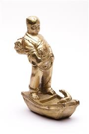 Sale 9027D - Lot 787 - A Gilt Metal Figure of A Man and Dog (H 18cm)
