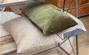 Sale 9060H - Lot 70 - A set of three down filled cushions in greens and blues. 56x 30cm