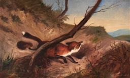 Sale 9125 - Lot 628 - Robert Dumont-Smith (1908 - 1994) Red Fox oil on board 17.5 x 30 cm (frame: 27 x 40 x 2 cm) signed lower left