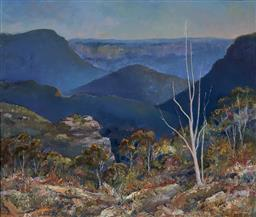 Sale 9170 - Lot 579 - ROBERT DAVID HILL (1947 - ) Jamison Valley, Blue Mountains, 1984 oil on board 77.7 x 90.5 cm (frame: 89 x 102 x 3 cm) signed lower r...
