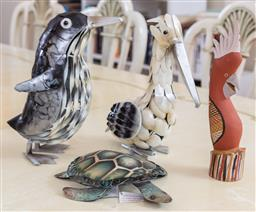 Sale 9165H - Lot 157 - A collection of bird themed figures and a metal tortoise. Tallest 39cm