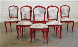 Sale 9183 - Lot 1039 - Set of 8 painted French style dining chairs (h:100 x w:53 x d:40cm)