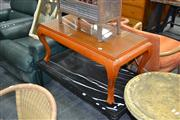 Sale 8013 - Lot 1164 - Glass Top Timber Coffee Table on Tapered Legs