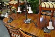 Sale 8099 - Lot 837 - Pair of Tulip Shade Table Lamps & Another w 3 Arms (3)