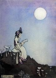 Sale 8231A - Lot 47 - Ethel Jackson Morris (1891 - 1985) - Girl Seated on Toadstool Reading by Moonlight, 1916 18.5 x 13cm