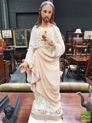 Sale 8416 - Lot 1093 - Painted Plaster Figure of Jesus of the Sacred Heart