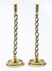 Sale 8518A - Lot 7 - A pair of antique English tall and heavy brass double Jacobean twist candle sticks, C: 1910. Ht: 50cm