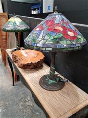 Sale 8680 - Lot 1007 - Leadlight Table Lamps x 2