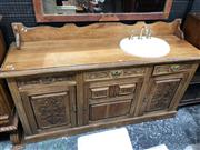 Sale 8697 - Lot 1649 - Carved Timber Sideboard with Fitted Hand Basin, Three Drawers & Doors