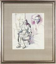 Sale 8759 - Lot 2007 - Tony Irving (1939 - ) - Seated Woman (Study) 23 x 20.5cm