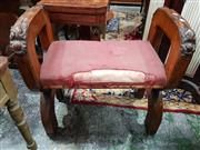 Sale 8774 - Lot 1014 - Gothic Style Maple Chair or Stool, the X end frames closed on top and with floral carving, pink upholstered seat, cross to joints...