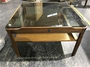 Sale 8984 - Lot 1082 - Myers Teak Coffee table with Smokey Glass Top