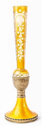 Sale 9083N - Lot 20 - A citron glass vase with guilloche enamel base beneath an etched floral trumpet. Height 36cm
