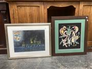 Sale 9091 - Lot 2068 - 3 works including an oil landscape by B. Cowper, a watercolour of Venice by Tim Keller and a framed aboriginal work, various sizes,...