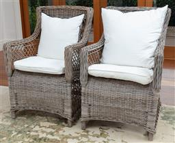 Sale 9134H - Lot 51 - A pair of grey woven cane armchairs with piped ivory cushions by Maison de Vacances. Height of back 96cm x Width 64cm