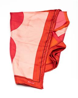 Sale 9253J - Lot 452 - A BALLY SILK B SCARF; large B design in pink and orange with rolled edges (missing tag), size 85x 85cm.
