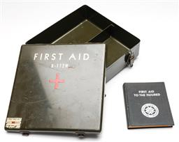 Sale 9253 - Lot 413 - Military first aid box and book